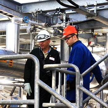 two staff inspect plant equipment and structures for steam production