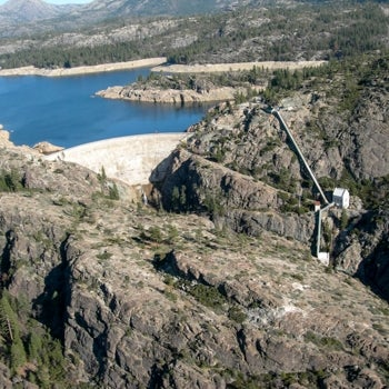 Aerial view of dam and reservoir