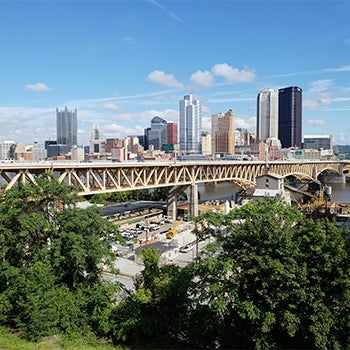 Liberty Bridge and Pittsburgh skyline